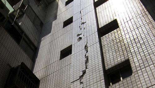 Crack on side of building