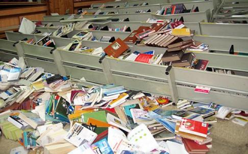 Shelves toppled & books throw on floor