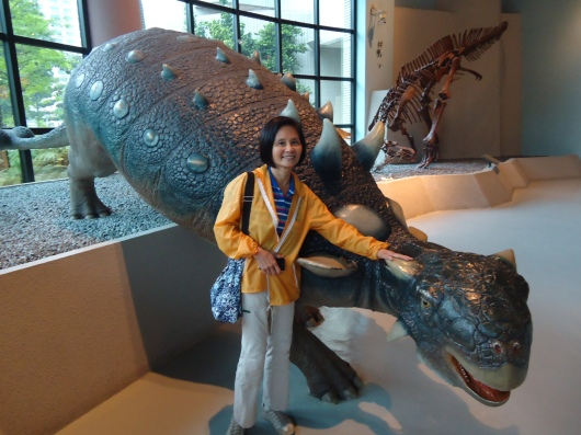 With life-size dinosaur model