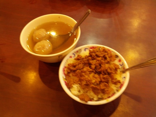One bowl of sticky rice - C$1.35. One bowl of soup - C$0.35. Free refill. Full for C$1.60!