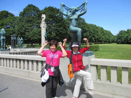 Mimicking one of the sculptures on the Bridge of Life.