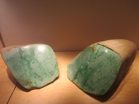 Jade stone. If you see the uncut stone in the wilderness would you recognize it as jade? Don't judge by appearance.