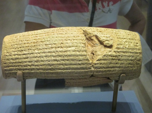 Cyrus Cylinder. Cyrus was king of Persia who gave the edict to rebuild the temple in Jerusalem.