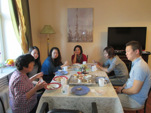 Dinner with students in our apartment.