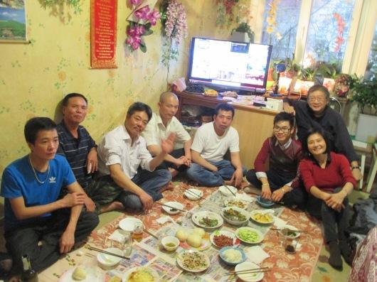 Enjoying dinner with new Vietnamese friends.