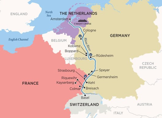 We boarded the ship at Basel, Switzerland, and travelled north downstream to Amsterdam, the Nederlands where we flew home.