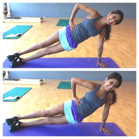 Full arm side plank dips