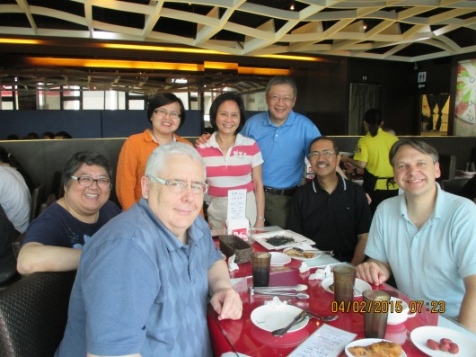 Enjoying welcome lunch with Taiwan missionaries.