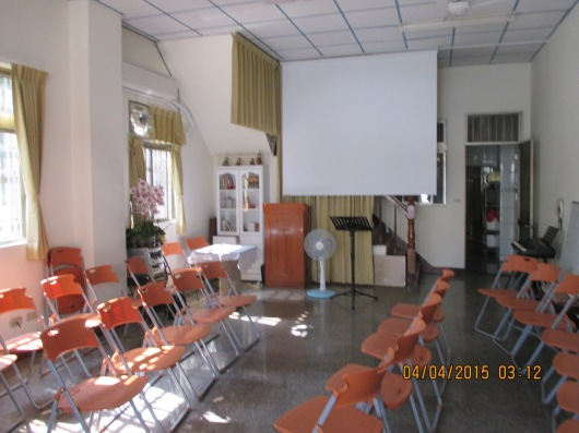 Ground floor of caring center, where worship services are held.