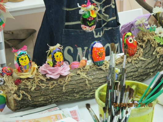 Sample eggs painted by the teacher.