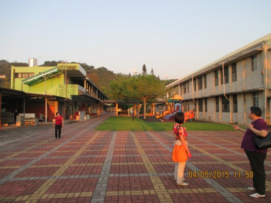 The school has lots of space but only about 120 students. Declining children population is a major challenge for Taiwan.