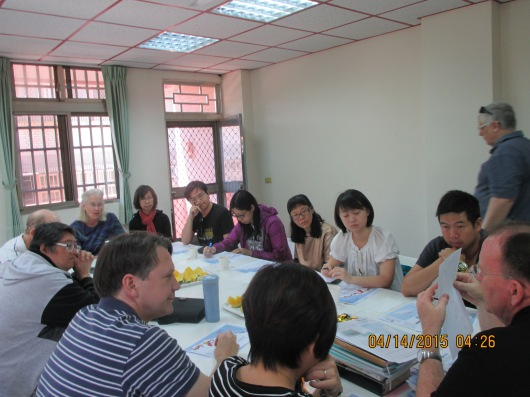 Giving orientation to ST trip members from Hong Kong