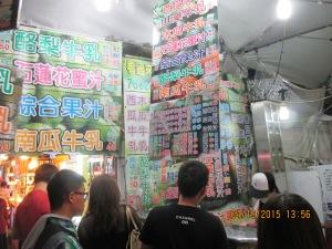 Many varieties of fresh blended fruits-vegetables-milk drinks