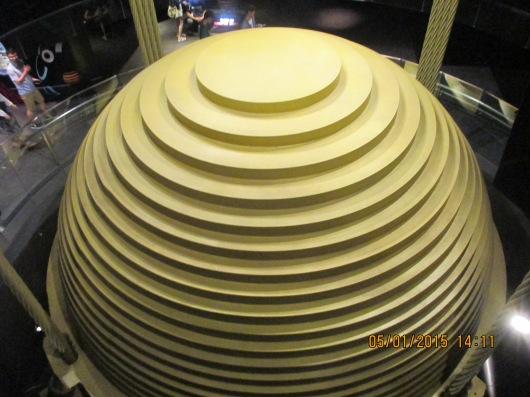 The tower's vibration damper to protect from typhoons.
