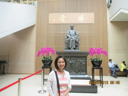 Hall in basement with statute of Dr. Sun Yet San