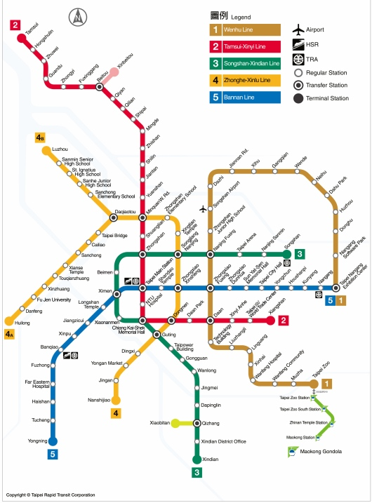 Taipei Metro (MRT) with 5 lines reach many places in Greater Taipei Area (GTA)